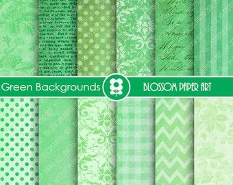 Digital Paper Green Digital Paper Pack, Scrapbooking, Backgrounds Textures Damask Dots Chevron - INSTANT DOWNLOAD - 1653