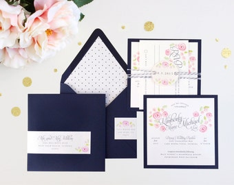 Floral Rose Modern Wedding Invitation Polka Dot Navy Pink Chalkboard Simple Contemporary Elegant Bakers Twine Typography Preppy Unique