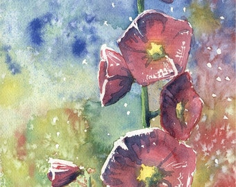 "Original Watercolor Painting With Flowers ""Hollyhocks"", Aquarelle"