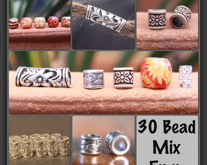 30 DREADLOCK BEAD MIX 5mm Hole (3/16 Inch) 5 Wooden - 10 Tibetan - 10 Metal - 5 Acrylic Hair Beads