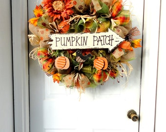 LARGE!!! Pumpkin Patch - Autumn Wreath - Fall Wreath - Fall Decoration - Deco Mesh Wreath - Door Decoration - Outdoor Fall