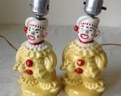 Vintage 60s Clown Lamps Ceramic Set of 2