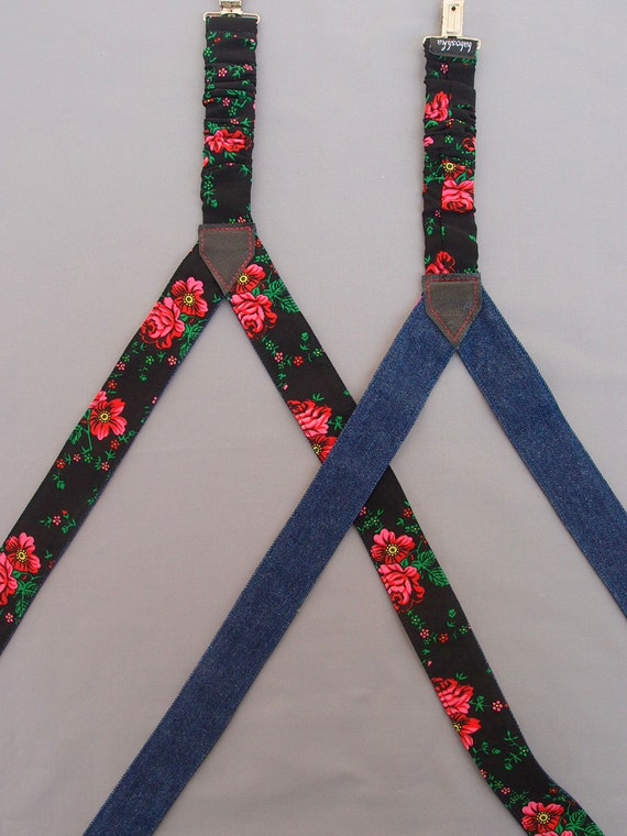 Black Floral Womens Suspenders Reversible Denim Suspenders Women Textile Braces Girlfriend Gift Suspenders with flowers