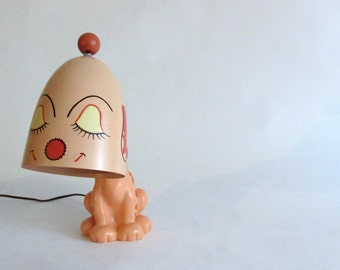 Mid Century Girl Puppy Lamp. Rosy from Gasoline Alley Comic Strip.