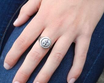 Anchor  Locket Ring - Nautical Silver Round Locket for your Big Little,  Beach Wedding