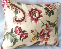 Floral pillow cover, 12 x 16 decorative pillow,Pink floral pillow, Green floral pillow, Burgundy red flower pillows, Pink roses cushions,