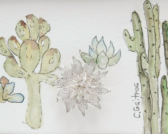 Cactus print succulent wall art, vintage silver brooch, original watercolor painting, green summer art, southwestern home decor, gifting