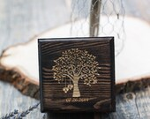 Custom Engraved Rustic Tree with Initials in Hearts - Wedding Wood Ring Box with Moss