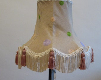 Vintage Style Lampshade With Modern Spotty Fabric With Pastel Colourd Embroidered Spots - Suits UK 25mm Light Fitting
