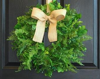 Spring wreath year round wreaths boxwood fern wreath welcome wreath front door wreaths home decor outdoor wreaths