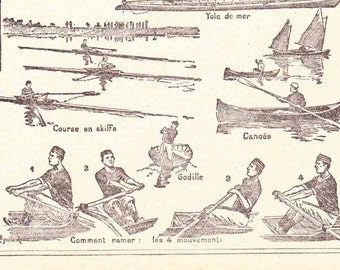 Antique French Print Dictionary Page 1920s Illustrations Rowing Sculling Boating Oar Cox  paper projects scrapbooking, collageBook page