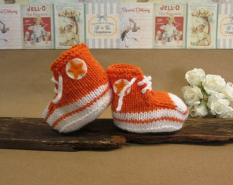 Knit Baby Booties Converse Hi Tops Fluro Orange White Toddler Shoes Baby Shower Gift Photo Prop Boots Runners, Australia