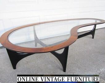 Restored 1960s Lane Amoeba Table Vintage Mid Century Midcentury Mid Century Modern Kidney Rosewood Rose