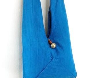 Women bag Handbags Thai Cotton bag Hippie bag Hobo bag Boho bag Shoulder bag Tote bag Diaper bag Purse Everyday bag Blue
