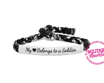 My Heart Belongs to a Soldier Custom Military Support Bracelet - Army, Air Force, Navy, Soldier Wife, Girlfriend, Fiance