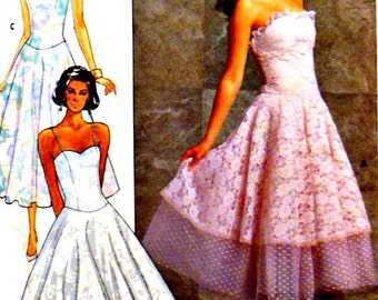 80's Vintage Sewing Pattern Flared Strapless Dress Size 6 8 Janet Russo Boned Princess Seam Attached Underskirt Butterick 4903