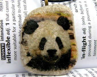 Panda necklace, Panda pendant, Panda charm, Panda beach stone, Panda jewelry,Panda stone,beach stone,animal stone necklace,animal necklace