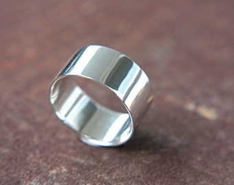 Wide Sterling Silver Ring Wedding Ring Sterling High Polished 10mm Ring Silversmith Metalsmithed