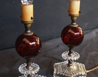 Set of Two Beautiful Vintage Red Glass Lamps
