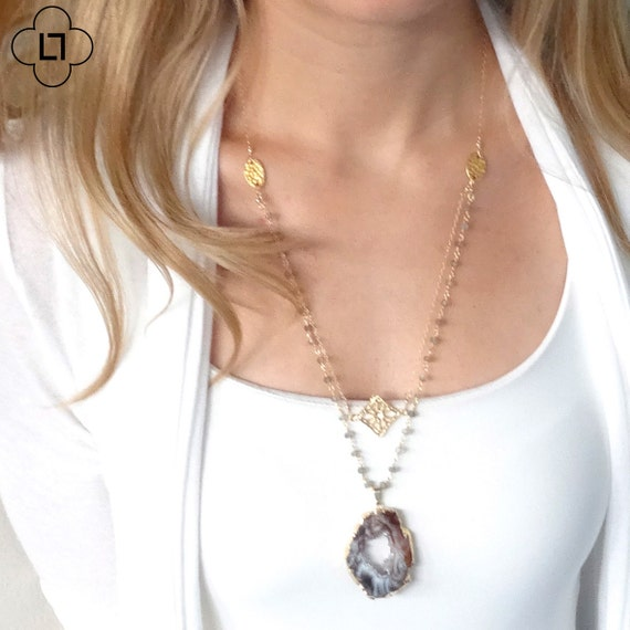 Long Rosary Necklace with Druzy Pendant Necklace