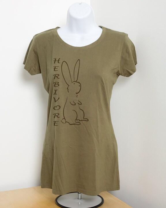 Herbivore Bunny Rabbit Ladies Vegetarian Bamboo T Shirt Vegan