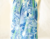Silk scarf - IRIS scarf  - hand painted scarves - silk scarves -  floral scarf - blue scarf navy blue flowers - Watercolor scarf