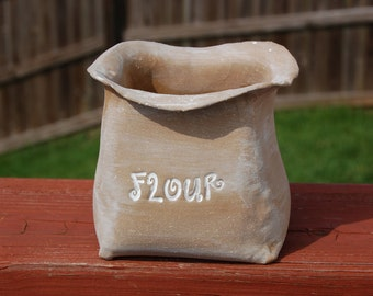 "Brown Terracotta ""Flour Sack"" Planter, utensil holder, sack container, funky kitchen bin, kitschy kitchen decor, mom gift, fun garden decor"