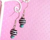 Black Striped Bead Earrings, Cute Lolita Fairy Kei Pastel Goth Jewelry for Women Girls and Teens