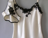 Silk Satin Lingerie Set In Ivory Satin and Black Lace. Various Lengths Available.