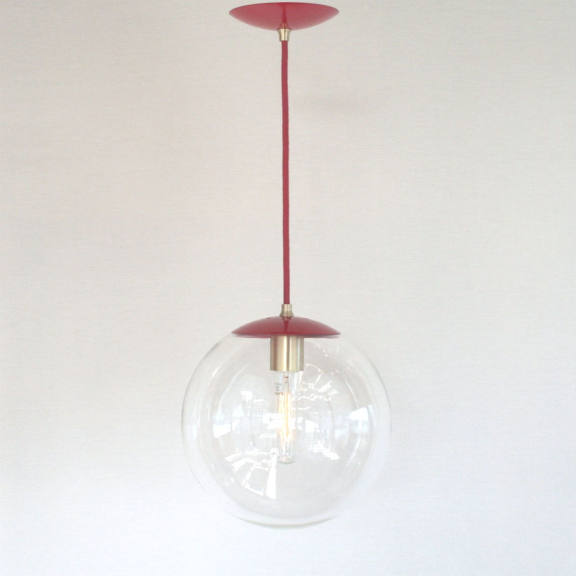 Red mid century modern glass globe pendant light 10 for Mid century modern globe pendant light