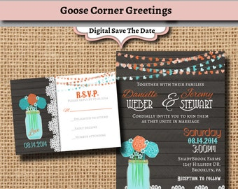Mason Jar Invitation Suite-Wedding-Printable-Rustic invitation- Mason Jar-Wood-Lace-Bridal Shower-Shower Invitation-Teal-Orange-floral