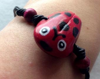 Ladybug/Ladybird Polymer Clay Bracelet, Hand-Painted, Triple-Strand
