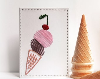 2D Hand Stitched cards Ice cream card Gift for baby boys and girls Original Handmade gift for little ones Blank inside Ice cream 25% sale