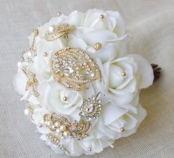 Amato Bouquet di nozze d'oro spilla con gioielli cristallo e BX74