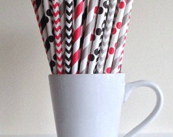 Red, Black, and Gray Paper Straws Striped, Chevron, and Polka Dots Pirate Party Decor Bar Cart Cake Pop Sticks Mason Jar Straws Graduation