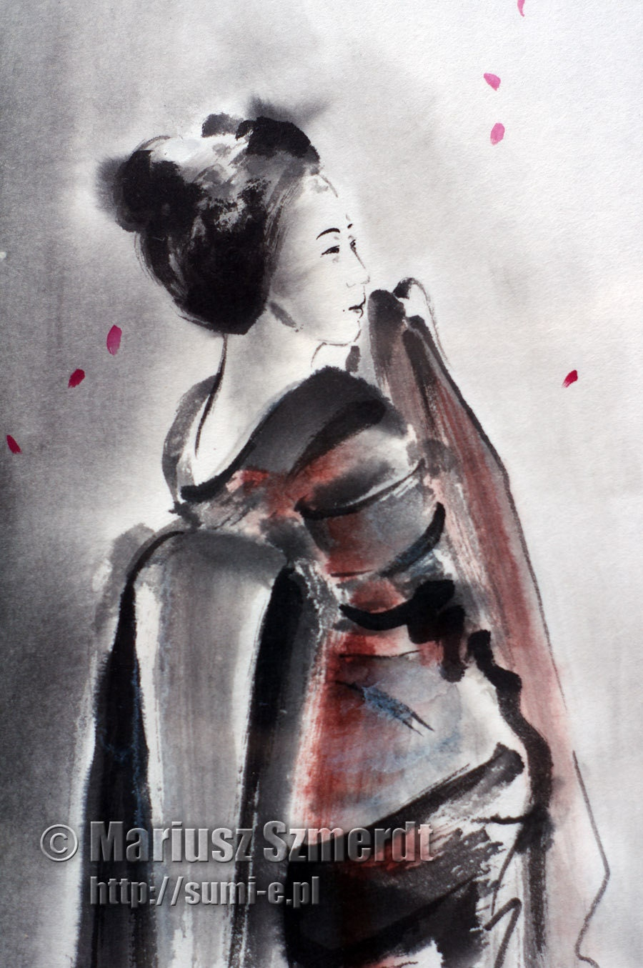 geisha painting geisha original painting geisha ink by