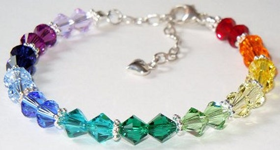 swarovski crystal spectrum rainbow beaded bracelet stunning
