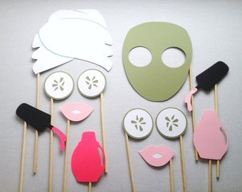12 Spa Day Photo Booth Props - Photo Booth Props - Girls Spa Day - Birthday Party