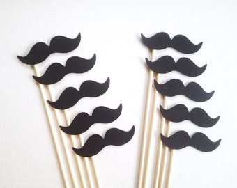 10 Black Mustache Photo Booth Props - Wedding Photo Booth - Mustache Party - Birthday Photobooth