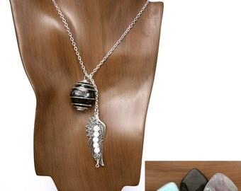 CAPRICORN 3-in-1 Gemstone Necklace Set w/ Onyx, Fluorite, Blue Aragonite - Choose Your Length Zodiac Astrology | December January Birthday