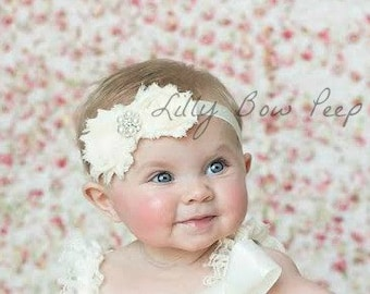Ivory Baby Headband-Baby Girl Baptism Headband-Preemie-Newborn-Infant-Child-Toddler-Adult-Wedding-Photography Prop- Fancy Vintage-Baby bows