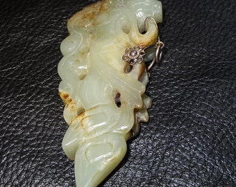 Antique Jade Pendant Carved Nephrite with Sliver Fittings Qing Dynasty 84 Grams