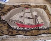Deadstock Vintage Ship-in-a-Bottle Woven Placemats Jute/ Cotton Set of 4