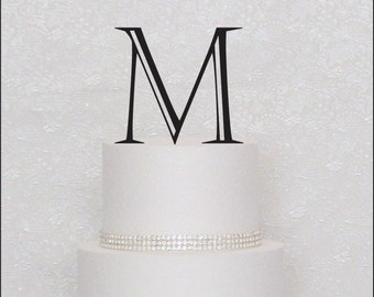 Fine Monogram Wedding Cake Topper in Black, Gold, or Silver Letter Initial