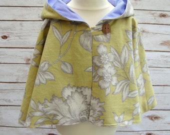 Mustard Yellow & Lilac Hooded Girls Cape Age 2-3 Years