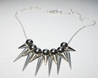silver studded spike necklace retro grunge punk trashy