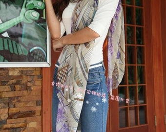 NEW scarf beige printed boat scarf Women Fashion Style