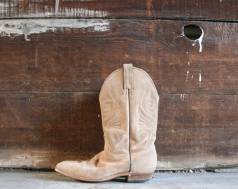 vintage 70s tan leather suede western boots / Sz 9M