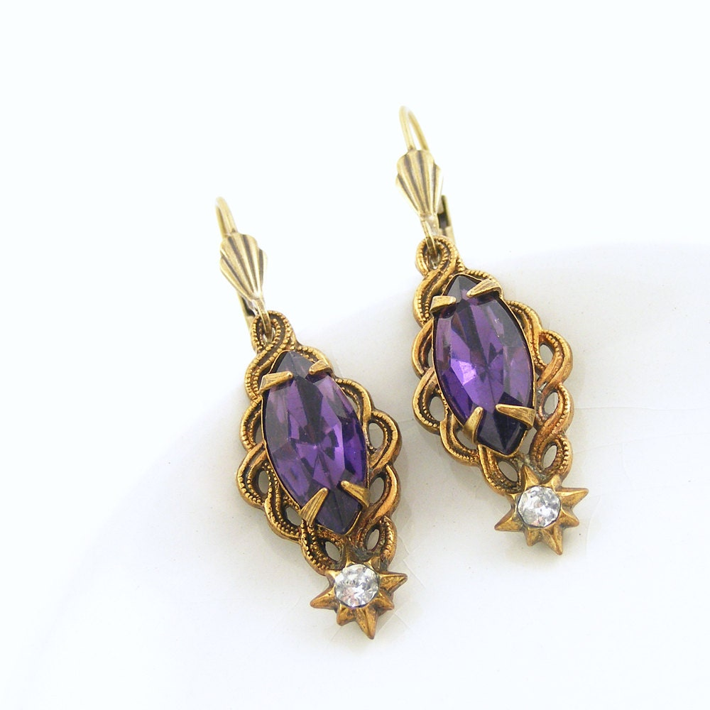 Deep Purple Earrings, Art Deco Style Earrings with Vintage Jewels, OOAK