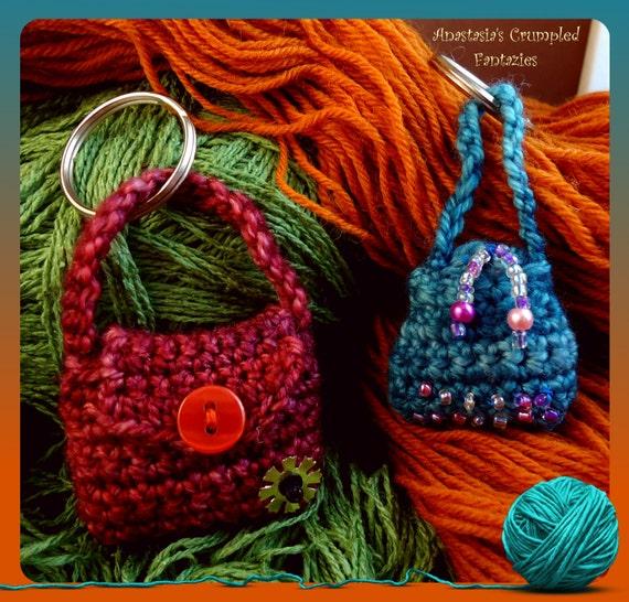 Crochet miniature purse keychain, Stuffed mini purse keyring, crochet ...